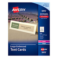 Avery; Embossed Tent Cards, 3 1/2 inch; x 11 inch;, Ivory, Pack Of 50