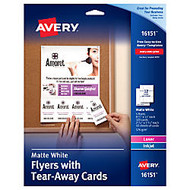 Avery; Flyers With Tear-Away Note Cards, 8 1/2 inch; x 11 inch;, White, Pack Of 120 Cards