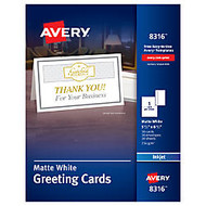 Avery; Half-Fold Textured Greeting Cards, 5 1/2 inch; x 8 1/2 inch;, Matte White, Box Of 30