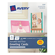 Avery; Half-Fold Textured Greeting Cards, 5 1/2 inch; x 8 1/2 inch;, White, Box Of 30