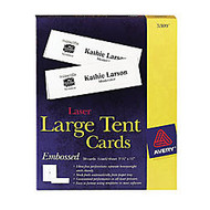 Avery; Inkjet And Laser Large Embossed Tent Cards, 11 inch; x 3 1/2 inch;, White, Box Of 50