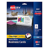 Avery; Inkjet Clean-Edge Business Cards, 2 inch; x 3 1/2 inch;, White Matte, Pack Of 160
