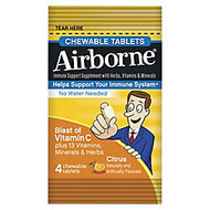 Airborne; Immune Support Chewable Tablets, Citrus, 4 Per Pack, Carton Of 144 Packs