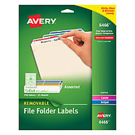 Avery; Color Removable Laser File Folder Labels, 2/3 inch; x 3 7/16 inch;, Assorted Colors, Box Of 750