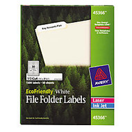 Avery; EcoFriendly Inkjet/Laser File Folder Labels, 2/3 inch; x 3 7/16 inch;, 100% Recycled, White, Pack Of 1,500