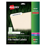 Avery; EcoFriendly Inkjet/Laser File Folder Labels, 2/3 inch; x 3 7/16 inch;, 100% Recycled, White, Pack Of 750