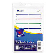 Avery; Print-Or-Write Color Permanent Inkjet/Laser File Folder Labels, 5/8 inch; x 3 1/2 inch;, Assorted Colors, Pack Of 252