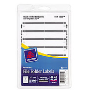 Avery; Print-Or-Write Color Permanent Inkjet/Laser File Folder Labels, 5/8 inch; x 3 1/2 inch;, Black, Pack Of 252