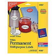Avery Multipurpose Label - Permanent Adhesive - 1.50 inch; Width x 2.50 inch; Length - 18 / Sheet - Oval - Inkjet, Laser - White - 270 / Pack