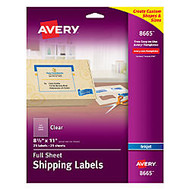Avery; Clear Inkjet Labels, Full Sheet, 8 1/2 inch; x 11 inch;, Box Of 25