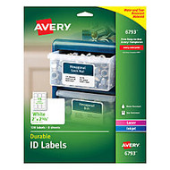 Avery; Durable Full-Sheet ID Labels, 2 inch; x 2 5/8 inch;, White, Pack Of 120