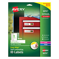 Avery; Easy Align™ Self-Laminating ID Labels, 1 1/16 inch; x 3 1/2 inch;, White, Pack of 250