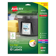 Avery; Easy Align™ Self-Laminating ID Labels, 3 1/2 inch; x 4 1/2 inch;, White, Pack of 50