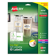 Avery; Easy Align™ Self-Laminating ID Labels, 3 5/16 inch; x 2 5/16 inch;, White, Pack of 100