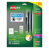Avery; Easy Align™ Self-Laminating ID Labels, 5 inch; x 7 1/2 inch;, White, Pack of 5