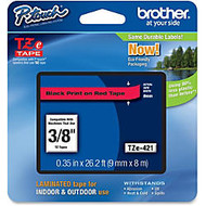 Brother Black on Red Label Tape - 0.35 inch; Width x 26.25 ft Length - Thermal Transfer - Black, Red - 1 Each