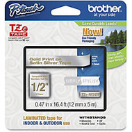 Brother Label Tape - Permanent Adhesive -  inch;0.47 inch; Width x 16.40 ft Length - Thermal Transfer - Gold, Satin Silver - Plastic - 1 Each