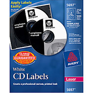 Avery CD/DVD and Jewel Case Spine Label - Removable Adhesive Length - 2 / Sheet - Circle - Laser - White - 250 / Pack