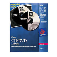 Avery; Clear Glossy Laser CD/DVD Labels, Pack Of 40