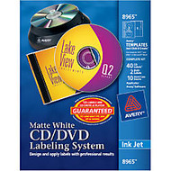 Avery; Inkjet CD/DVD Design Kit, Labels And Inserts, Pack Of 40