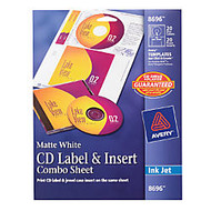 Avery; Inkjet CD/DVD Label And Insert Combo Sheets, Matte White, Pack Of 20 Sets