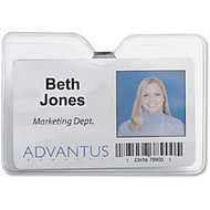 Advantus 75456 ID Badge Holder with Clip - 4 inch; x 3 inch; - Vinyl - 50 / Pack - Clear