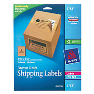 Avery; 100% Recycled Brown Kraft Inkjet/Laser Shipping Labels, Pack Of 50
