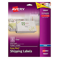 Avery; Easy Peel; Clear Inkjet Shipping Labels, 3 1/3 inch; x 4 inch;, Pack Of 60