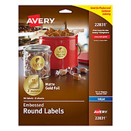Avery; Easy Peel; Round Labels, 2 inch; Diameter, Gold, Pack Of 96