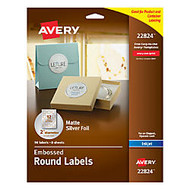Avery; Easy Peel; Round Labels, 2 inch; Diameter, Silver, Pack Of 96