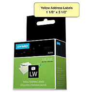 Dymo 30255 Address Label - Permanent Adhesive -  inch;1.12 inch; Width x 3.50 inch; Length - 130 / Roll - Direct Thermal - Yellow - Paper - 130 / Box
