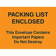 Packing List Envelopes, 4 1/2 inch; x 6 inch;, Yellow, Pack Of 1,000