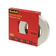 3M Scotch High Performance Filament Tape - 0.75 inch; Width x 60 yd Length - 3 inch; Core - Synthetic Rubber - Glass Yarn Backing - 1 / Roll - Clear