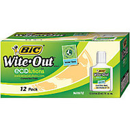 BIC; Ecolutions Water Base Correction Fluid, 22 mL, White, Box Of 12