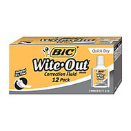 BIC; Wite-Out; Correction Fluid With Foam Applicator, Quick Dry, White, Pack Of 12