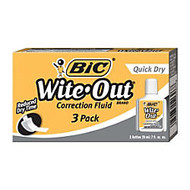 BIC; Wite-Out; Correction Fluid With Foam Applicator, Quick Dry, White, Pack Of 3