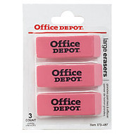 Office Wagon; Brand Beveled Erasers, Pink, Pack Of 3