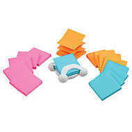 Post-it; Jax-330 Pop-Up Note Dispenser With Electric Glo Color Notes, White/Assorted Color Notes, Pack Of 14 Notes
