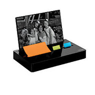 Post-it; Pop-Up Note And Flag Dispenser With Photo Frame, Black