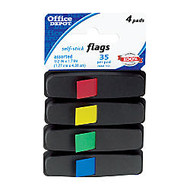 Office Wagon; Brand Self-Stick Flags, 1/2 inch; x 1 7/10 inch;, Assorted Colors, 35 Flags Per Pad, Pack Of 4 Pads