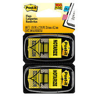 Post-it;  inch;Notarize inch; Printed Flags, 1 inch; x 1 7/10 inch;, Yellow, 50 Flags Per Pad, Pack Of 2 Pads