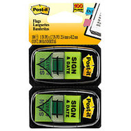 Post-it;  inch;Sign & Date inch; Printed Flags, 1 inch; x 1 7/10 inch;, Green, 50 Flags Per Pad, Pack Of 2 Pads