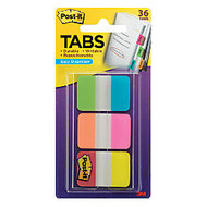 Post-it; 1 inch; x 1 1/2 inch; Durable Index Tabs, Assorted, 6 Tabs Per Pad, Pack Of 6 Pads