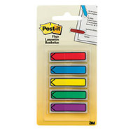 Post-it; Arrow Flags, 1 3/4 inch; x 1/2 inch;, Assorted Primary Colors, Pack Of 100