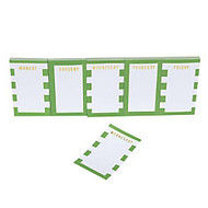 Gartner Studios; Day Of The Week Sticky Notes, 3 inch; x 2 inch;, Green/White Stripes, 50 Sheets Per Pad, Pack Of 5 Pads