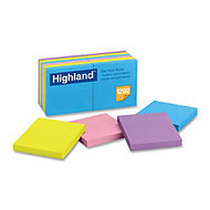 Highland Notes, 3 in x 3 in, Assorted Brights - 1200 - 3 inch; x 3 inch; - Square - 100 Sheets per Pad - Unruled - Bright Assorted - Paper - Self-adhesive, Repositionable, Removable - 12 Pad