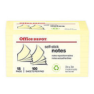 Office Wagon; Brand 30% Recycled Self-Stick Notes, 3 inch; x 3 inch;, Yellow, 100 Sheets Per Pad, Pack Of 18 Pads