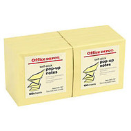 Office Wagon; Brand Pop-Up Notes, 3 inch; x 3 inch;, Yellow, 100 Sheets Per Pad, Pack Of 12