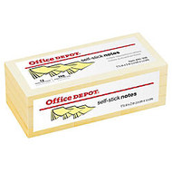 Office Wagon; Brand Self-Stick Notes, 1 1/2 inch; x 2 inch;, Yellow, 100 Sheets Per Pad, Pack Of 12