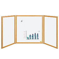 MasterVision™ Slim Enclosed 3-Panel Dry-Erase Board